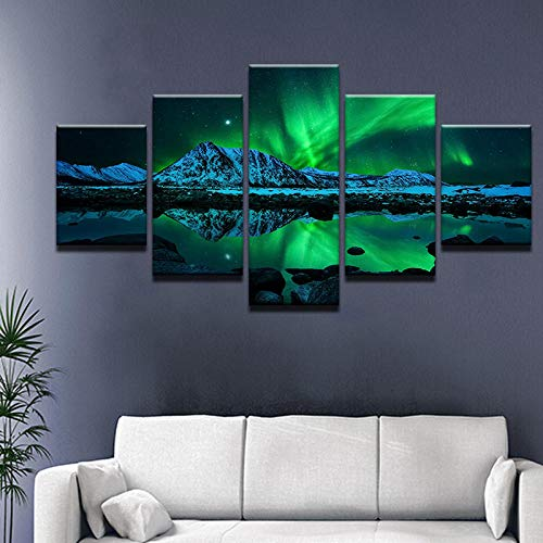 HAFZY 5 Canvas Paintings Hd Aurora Borealis Painting On Wall Art Pictures for Home Decoration Living -