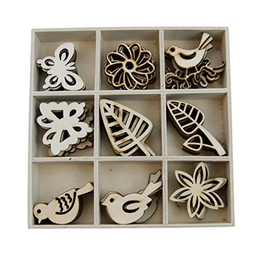 Baoblaze 45 Pieces Wooden Pieces Cutout Slices DIY Crafts for Wedding Decor Embellishments