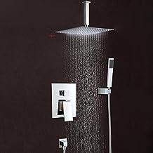 "LightInTheBox® Brass Ceiling Mounted Waterfall Rain Shower Faucet Set 12""Square Shower Head Bathroom Mixer Taps Single Handle Three Holes"