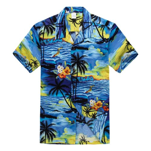 Palm Wave Men's Hawaiian Shirt Aloha Shirt 3XL Sunset (Cotton Mens Aloha Shirt)
