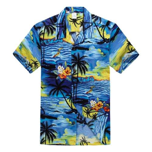 Palm Wave Men's Hawaiian Shirt Aloha Shirt S Sunset ()