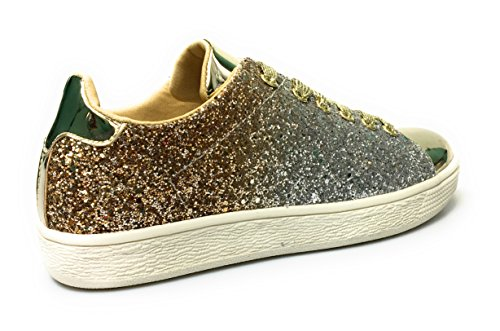 Forever Link Damen Peggy 44 Glitter Metallic gesteppte Schnürschuhe Low Top Fashion Sneaker Goldglitter-1