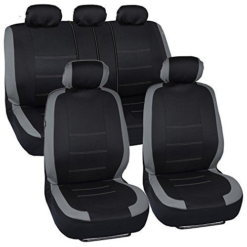 BDK Venice Series Car Seat Covers for Auto - Gray Stripes on Flat Black Cloth - Split Bench Function, Original Cover ()