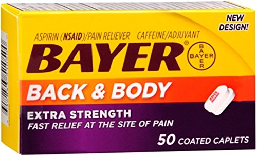 Bayer Extra Strength Caplets, Extra Strength Back & Body Pain Aspirin, 50 ct