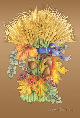 Toland Home Garden Golden Harvest 28 x 40 Inch Decorative Fall Autumn Wheat Bouquet Acorn Leaves House Flag