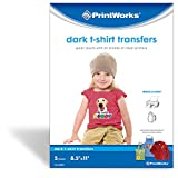 "iron on transfers for fabric - Printworks Dark T-Shirt Transfers for Inkjet Printers, For Use on Dark and Light/White Fabrics, Photo Quality Prints, 5 Sheets, 8 ½"" x 11"" (00529)"
