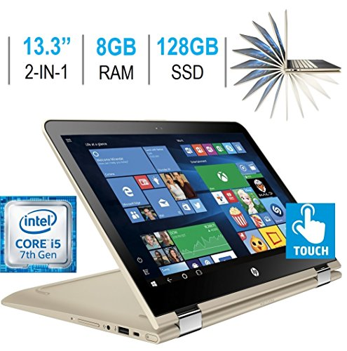 Newest HP Pavilion X360 13.3″ 2-in-1 FHD IPS Touchscreen Laptop PC, Intel Core i5-7200U, 8GB DDR4 SDRAM, 128GB SSD, Backlit keyboard, Bluetooth, HDMI, HD Graphics 620, B&O PLAY, Windows 10 – Gold
