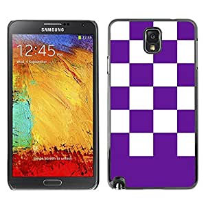 Graphic4You Checkered Pattern Design Hard Case Cover for Samsung Galaxy Note 3 (Purple)