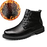 Gobling Men's Anti-Slip Ankle Boots, Casual Solid Color Round Top Outsole Waterproof Chukka Boots (Fleece Lined Optional) (Color : Warm Black, Size : 9.5 D(M) US)