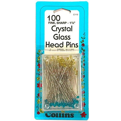 Collins Crystal Glass Head Pins Fine Sharp-1 7/8