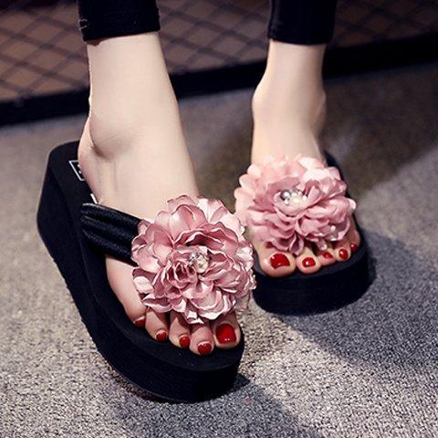 FLYRCX Pink de de dulce libre de y clip aire los chanclas verano zapatillas tacón moda sandalias señoras flores pies al HqIEw8Hr