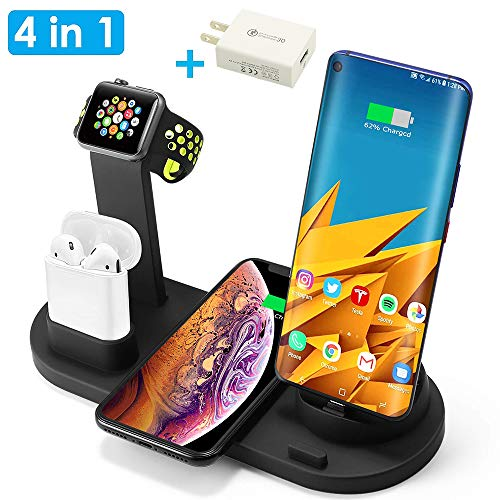 Wireless Charger, 4 in 1 Wireless Charging Station Qi Fast Wireless Charging Stand Dock Compatible with Apple Watch,Airpods,iPhone 11 Pro Xs Max,Samsung Galaxy S9,(with AC Adapter and USB Port),Black