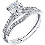 14K White Gold Classic Engagament Ring and Wedding Band Bridal Set Size 6