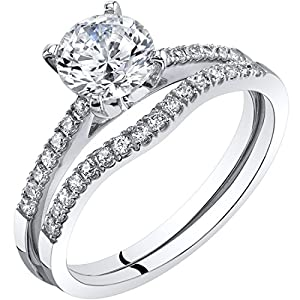 Peora 14K White Gold Classic Engagament Ring and Wedding Band Bridal Set Sizes 4-10