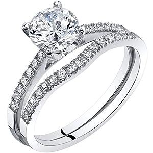 Peora 14K White Gold Classic Engagement Ring and Wedding Band Bridal Set Sizes 4-10