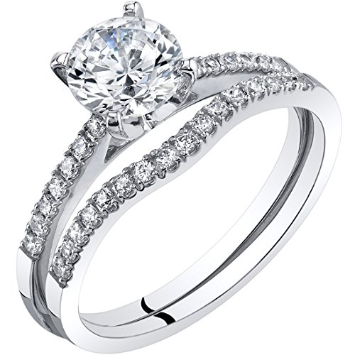 14K White Gold Classic Engagament Ring and Wedding Band Bridal Set Size 6 by Peora