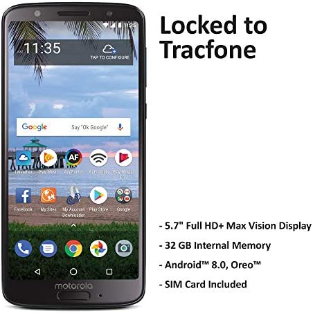 TracFone Motorola Moto G6 4G LTE Prepaid Smartphone (Locked) – Black – 32GB – Sim Card Included – CDMA