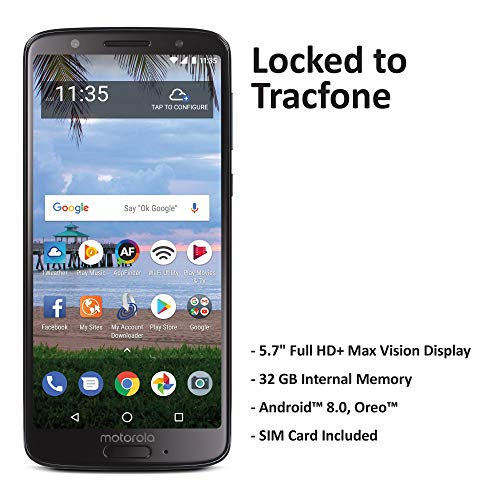 TracFone Motorola Moto G6 4G LTE Prepaid Smartphone (Locked) - Black - 16GB - Sim Card Included - CDMA