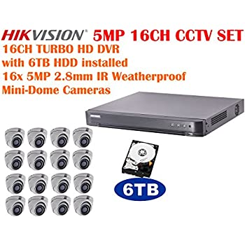 5 Megapixel Hikvision 16CH TURBO HD CCTV System with 16CH DVR with 6TB HDD and 16x