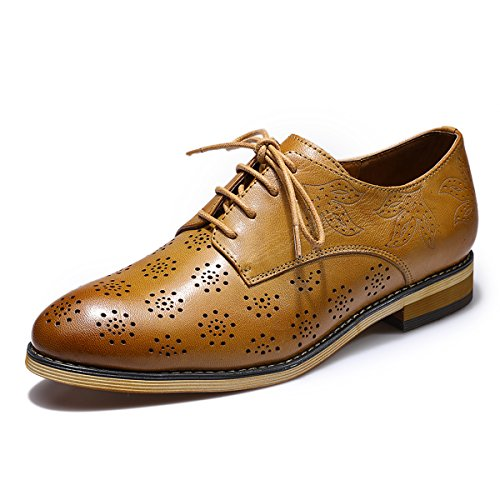 Mona flying Womens Leather Perforated Lace-up Saddle Oxfords Brogue Wingtip Derby Shoes