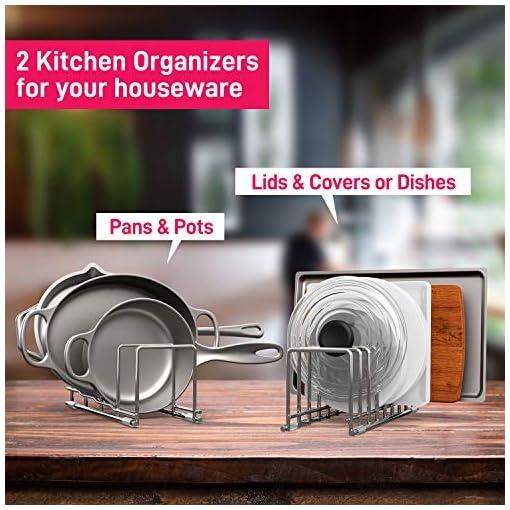 Kitchen Kitchen Organizer Set, Pan and Pot Lid Organizer Rack for Pots & Pans, Lids, Plates, Cutting Boards, Bakeware, Cooling… pot lid holders