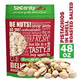Sincerely Nuts Large Pistachios Roasted & Salted in Shell - 3Lb. Bag | Healthy Snack Food | Great for Cooking | Source of Fiber, Protein, Vitamins & Minerals | Gourmet Flavor | Kosher & Gluten Free