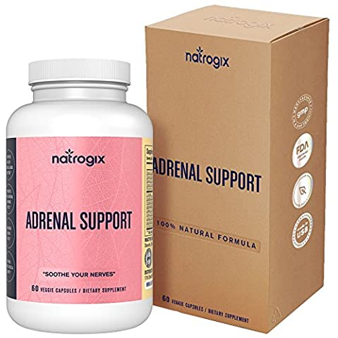 Natrogix Adrenal Support Complex 15 Adaptogenic Herbs, Amino Acids, Vitamins to Clear Brain Fog, Fatigue and Chronic Stress includes Ashgawanda, L-Tyrosine, Rhodiola Rosea, Gotu Kola, 30 Day - Adrenal Boost
