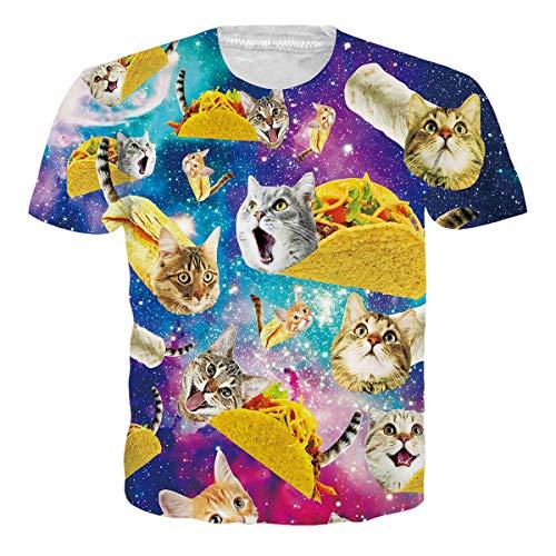 RAISEVERN Womens Mens T Shirt Taco Cat Shirts Sportswear Beach Summer Top Tee Crew Neck Galaxy Short Sleeve