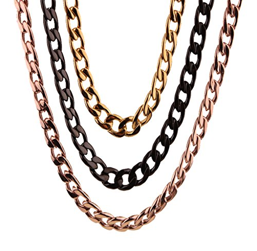 3pcs Mens Womens 6.5MM Wide Gold Rose Gold Black Stainless Steel Figaro Chain Link Necklace 21.5 Inches