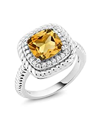 925 Sterling Silver Yellow Citrine Gemstone Engagement Ring (3.00 Ct Cushion Cut Available in size 5, 6, 7, 8, 9)