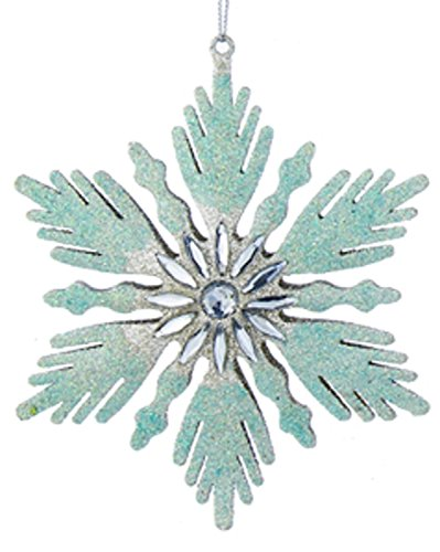 Winter Fanned Edge Glittered Aqua and Silver Snowflake with Jeweled Center Christmas Ornament ()