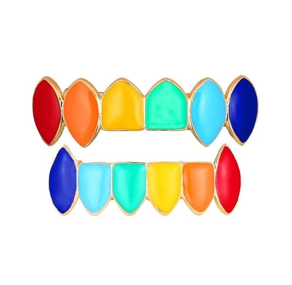 BZLine Regenbogen Hip Hop Z/ähne Gold Rainbow Grillz mit Fangz/ähnen f/ür den Mund Top Bottom Hip Hop Z/ähne Grill Set Kupfer Zahnkappe Schmuck Z/ähne Grills f/ür Z/ähne Mund