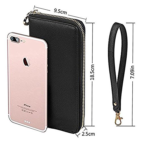 Women Wallet PU Leather Zipper Long Purse Credit Card Clutch Holder Strap Handbag by Calsoling (Image #6)