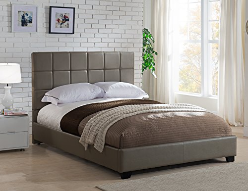 Mantua Kenville Taupe Upholstered Platform Bed - Easy to Assemble Faux Leather Platform Bed for Queen Beds, Dress Up Your Bedroom, No Box Spring Needed - Model KEN50TT