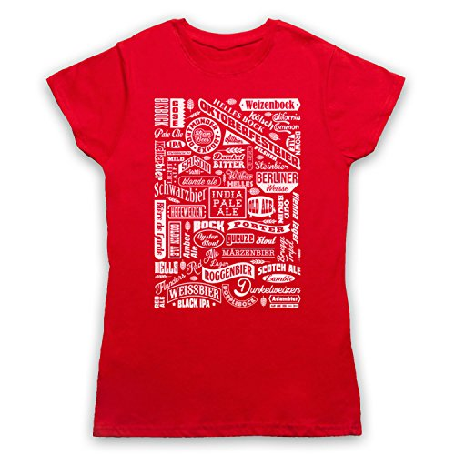 Craft Beer Types Drink Lover Typography Camiseta para Mujer Rojo
