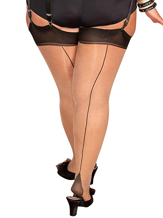 1940s Stockings, Nylons, Knee Highs, Tights, Pantyhose What Katie Did Champagne/Black Curve Glamour Seamed Stockings £10.00 AT vintagedancer.com