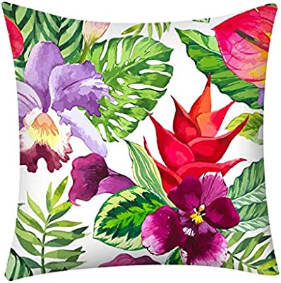 K-youth Funda Cojines 45x45 Tropical Planta Floral 40x40 ...