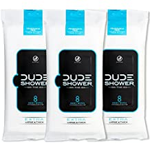 DUDE Naturally Soothing Aloe and Hypoallergenic Shower Replacement Wipes(3 Pack), 8 Count, Unscented