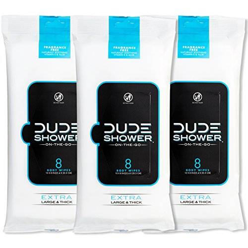 DUDE Shower Body Wipes (3 Packs, 8 Wipes Each) Unscented Naturally Soothing Aloe and Hypoallergenic, Portable Travel-Sized Individual Cleansing Cloths for Men