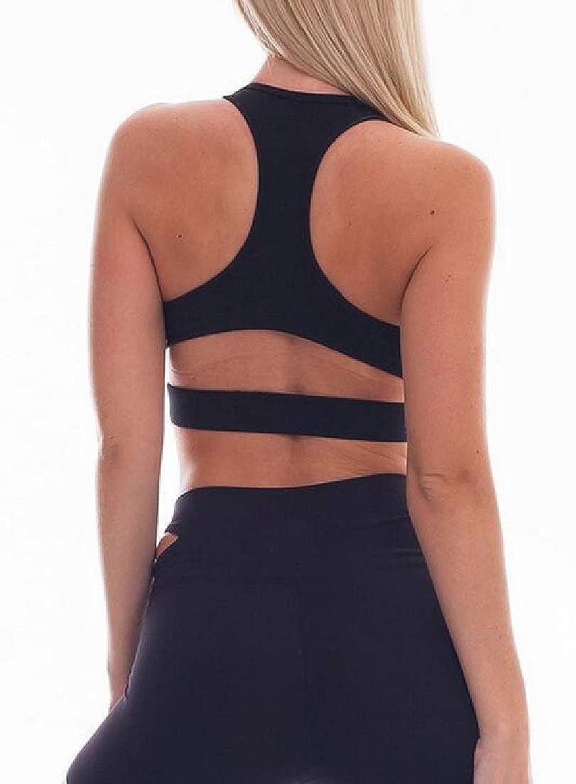 CRYYU Women 2 Piece Running Trainning Yoga Crop Top Skinny Sleeveless Tracksuit