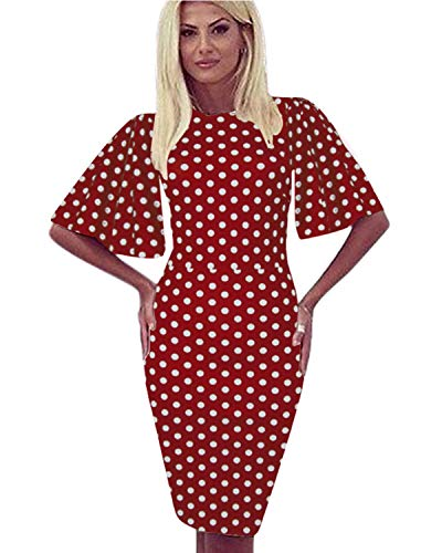 Zshujun Women's Casual Polka Dot Short Sleeve Round Neck Work Business Pencil Dress 1189 (Red dot, XL)