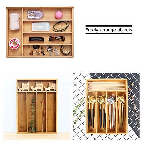 Keyfun Organizers 5-Slot Bamboo Cutlery Drawer Organizer by Keyfun (Image #5)