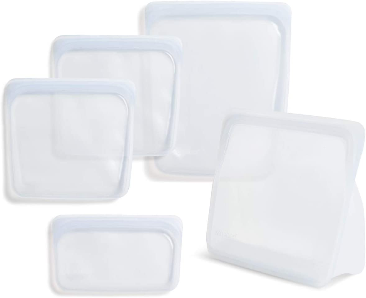 Stasher 100% Silicone Food Grade Reusable Storage Bag, Clear (Bundle 4-Pack Large + Bag to Give) | Reduce Single-Use Plastic | Store or Freeze | Leakproof, Dishwasher-Safe, Eco-friendly, Non-Toxic