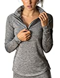 icyzone Women's Workout Yoga Track Jacket 1/2 Zip Long Sleeve Running Shirt (L, Athletic Grey)