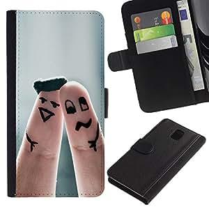 SHELLINA Foto Voltear Cuero Duro Funda Ranura Tarjeta TPU Carcasas Para Smartphone Samsung Galaxy Note 3 III N9000 N9002 N9005 - linda pareja dedo