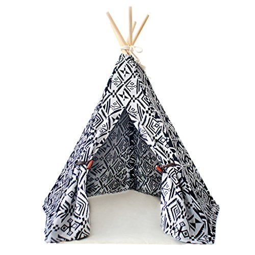 little dove Pet Teepee Dog(Puppy) & Cat Bed - Portable Pet Tents & Houses for Dog(Puppy) & Cat Indian Style 24 Inch no Cushion