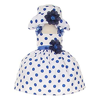 6c2b2f3a1 Cinderella Couture Baby Girls Navy White Polka Dot Hat Occasion Dress 24M