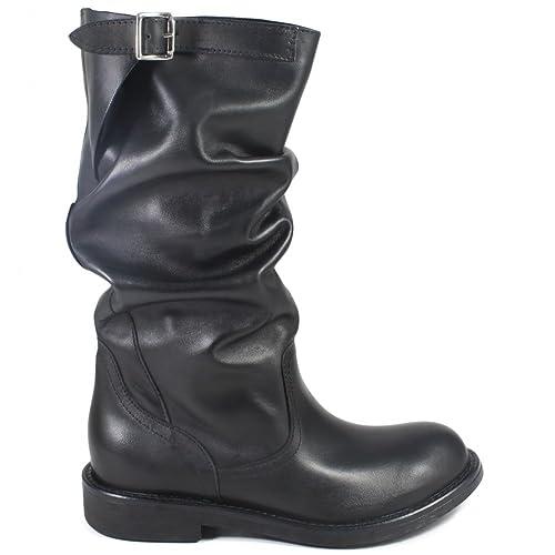 Bikerstiefel Damen Stiefel Echtleder Boots Made in Italy