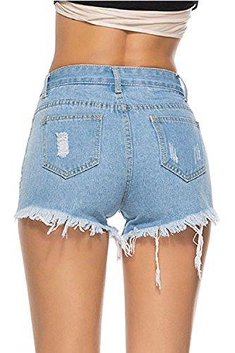 Blu Pantaloncini Skinny Fanvans Jeans Vita Di Donna Strappata Alta Tratto qww0Xzf