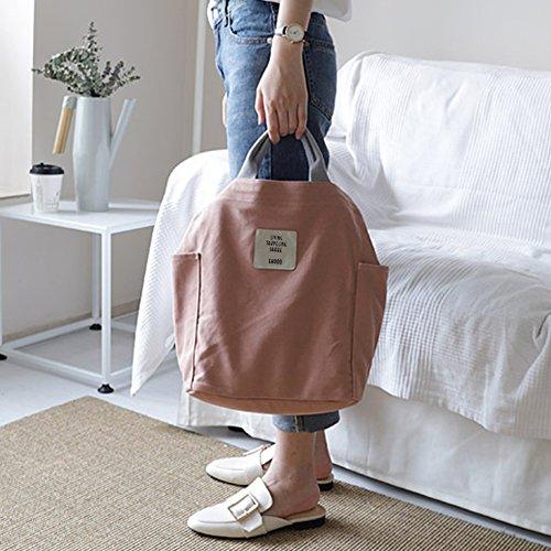 Adjustable Large Handbag Casual Tote Bag Canvas Pink Canvas Shoulder Bag Bag Shopping Strap with Gindoly Women dOn0qXw